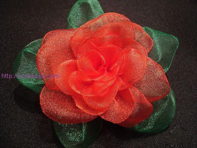 роза из органзы мастер класс - Цветы.