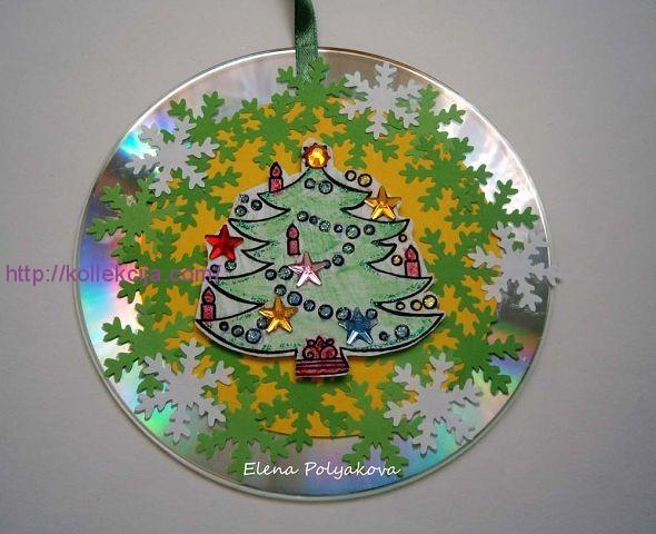 Открытки из дисков на новый год