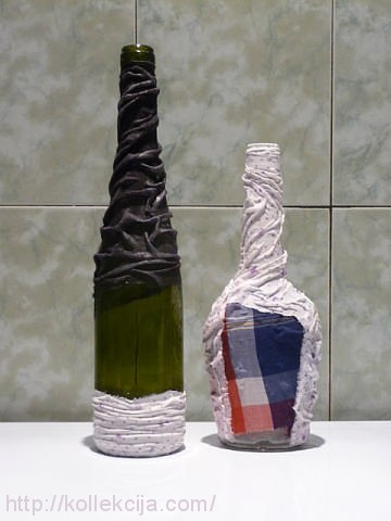Декорирование бутылок тканью мастер классы