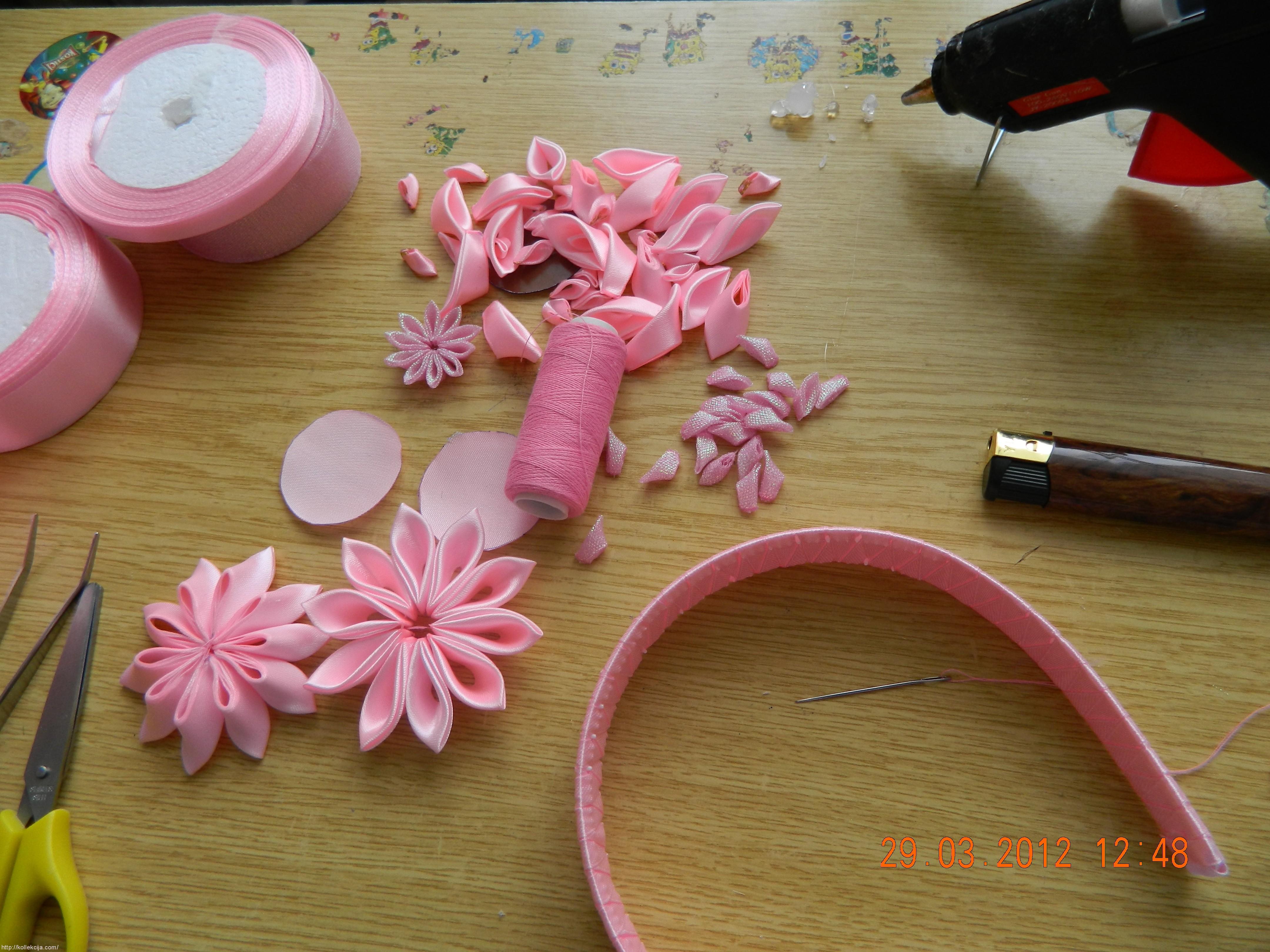 Как сделать цветы для ободка мастер класс