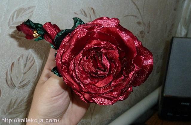 Плоская роза из ткани мастер класс