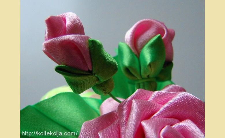 Бутоны роз из лент своими руками пошаговое фото