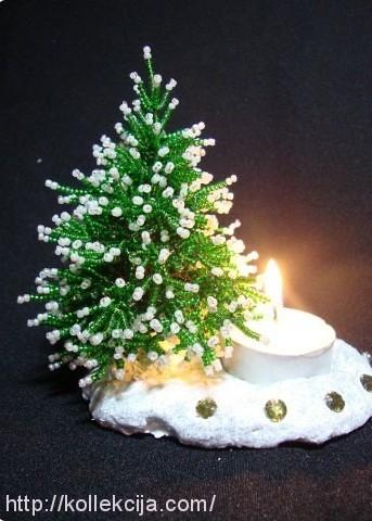 Мастер-класс Поделка изделие Новый год Бисероплетение МК - Зимняя романтика Бисер Гипс фото 10.
