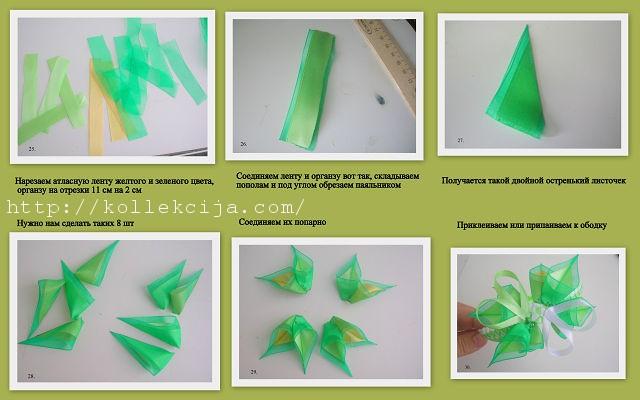 Листья из ленты своими руками пошагово для начинающих