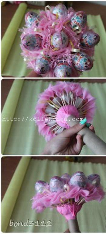 Как сделать букет из киндер сюрприза своими руками