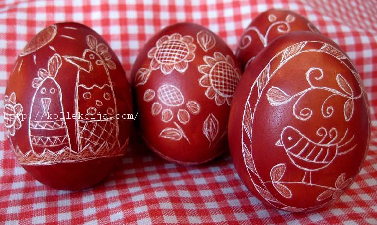 Пасхальные яйца в технике драпанка