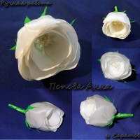 Белая роза из ленты
