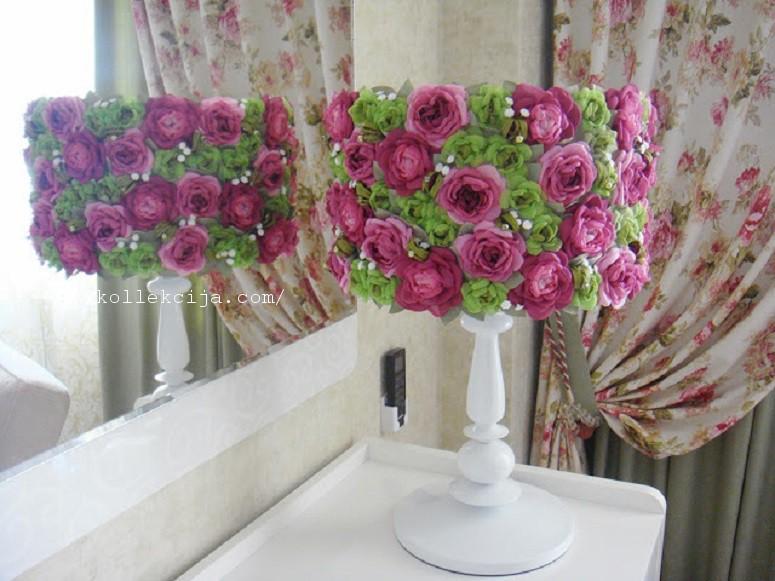 Светильники своими руками из цветов из ткани 184