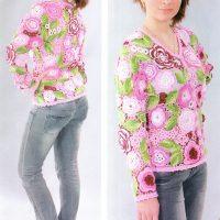 Жакет крючком из цветочных мотивов