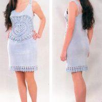 Платье спицами и крючком