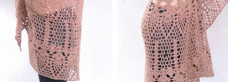 Полукруглая шаль крючком