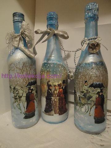Декупаж новогодних бутылок