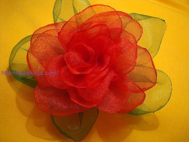 Цветок из органзы своими руками мастер класс фото 386