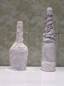 Декор бутылок тканью