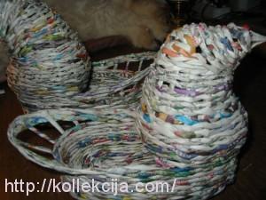 Плетение из газет - пасхальная курочка