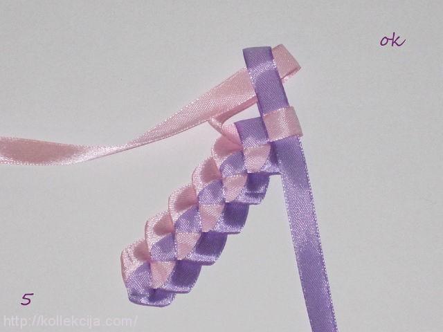 Канзаши плетение косички атласными лентами