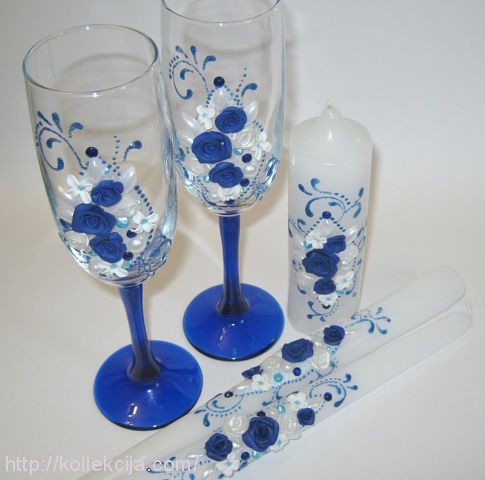 Бокалы своими руками на свадьбу в синем цвете