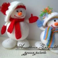Вязаный Снеговик спицами