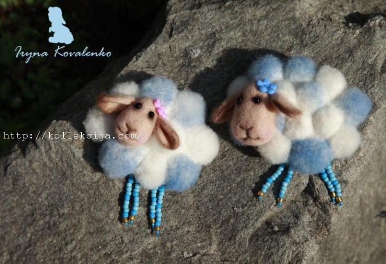 Брошь овечка