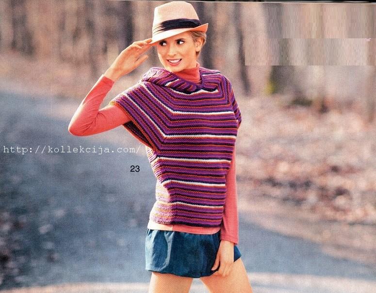 Пуловер с короткими рукавами спицами